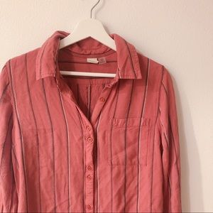 Roxy Striped Button up casual blouse Size 6